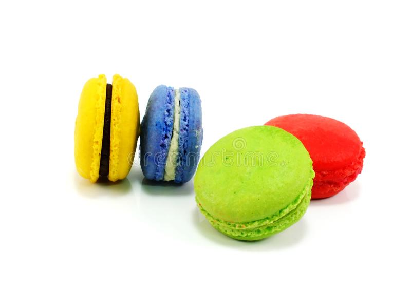 Colorful macaroon a French sweet delicacy on white background royalty free stock images