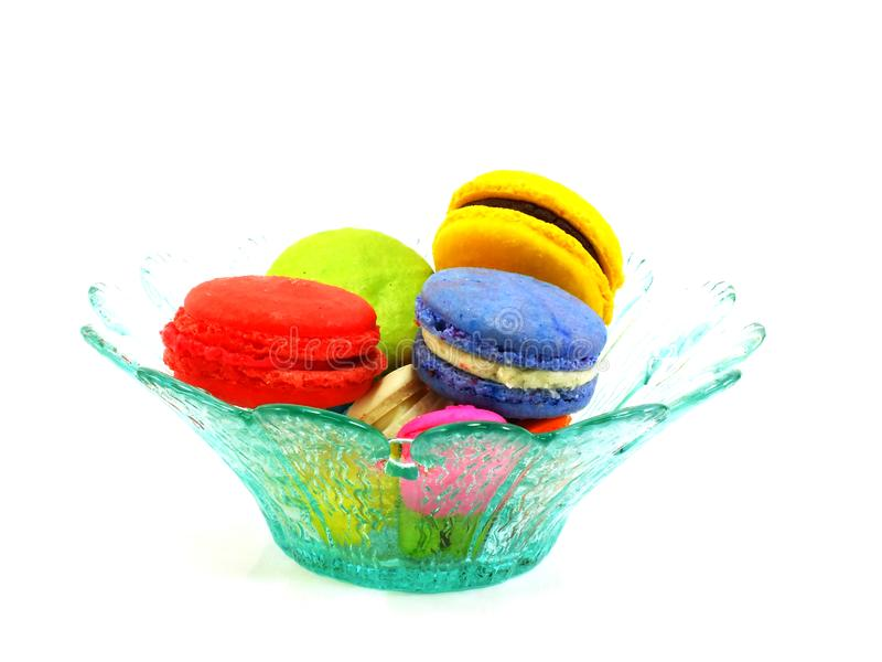 Colorful macaroon a French sweet delicacy on white background stock images