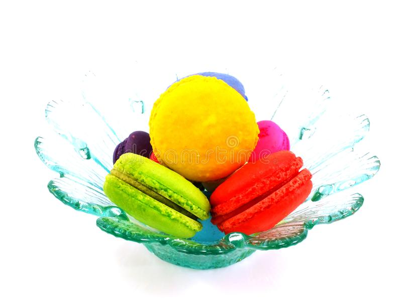 Colorful macaroon a French sweet delicacy on white background stock image