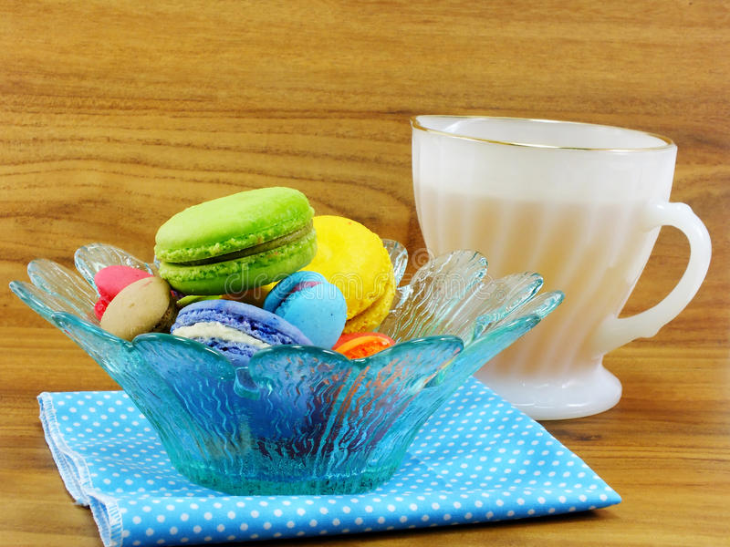 Tasty colorful macaroon variety closeup royalty free stock images