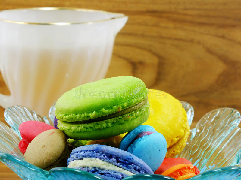 Tasty colorful macaroon variety closeup stock image