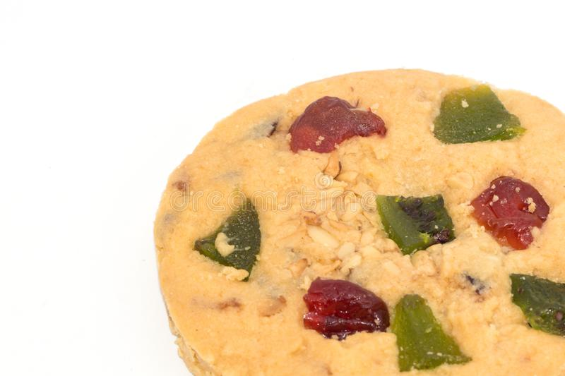 Tasty mix fruit cookies isolate on white background. royalty free stock images