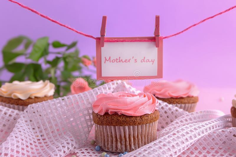 Tasty cupcake on table. Mother's day celebration stock photos