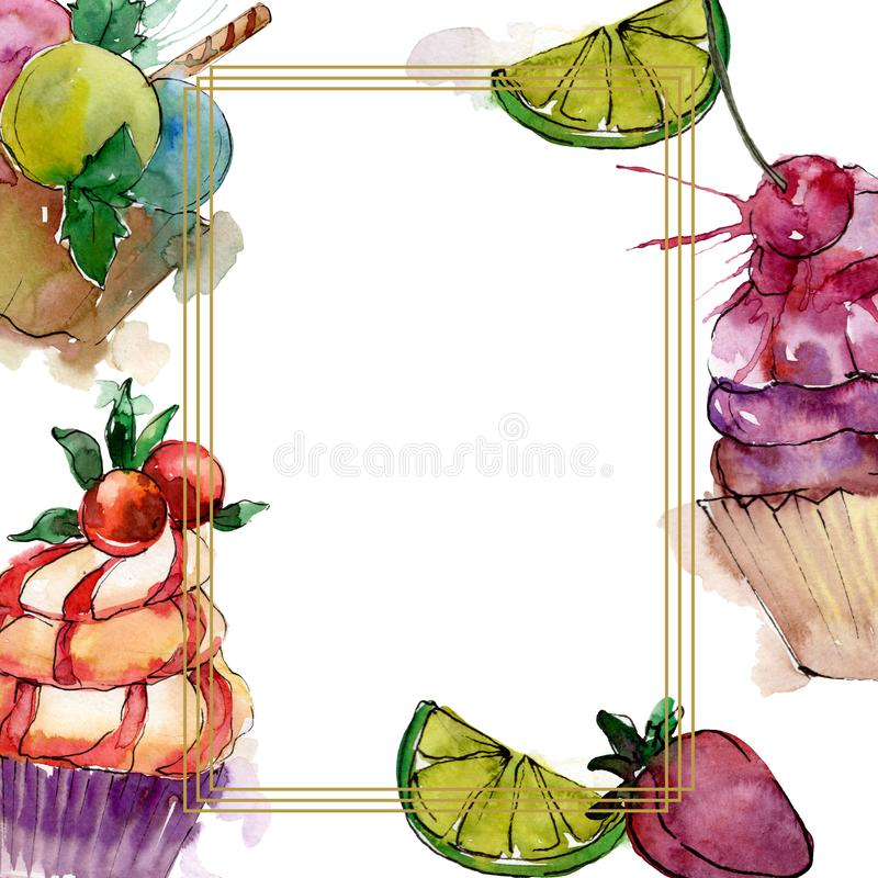 Tasty cupcake in a watercolor style. Aquarelle sweet dessert illustration set. Frame border ornament square. stock photography