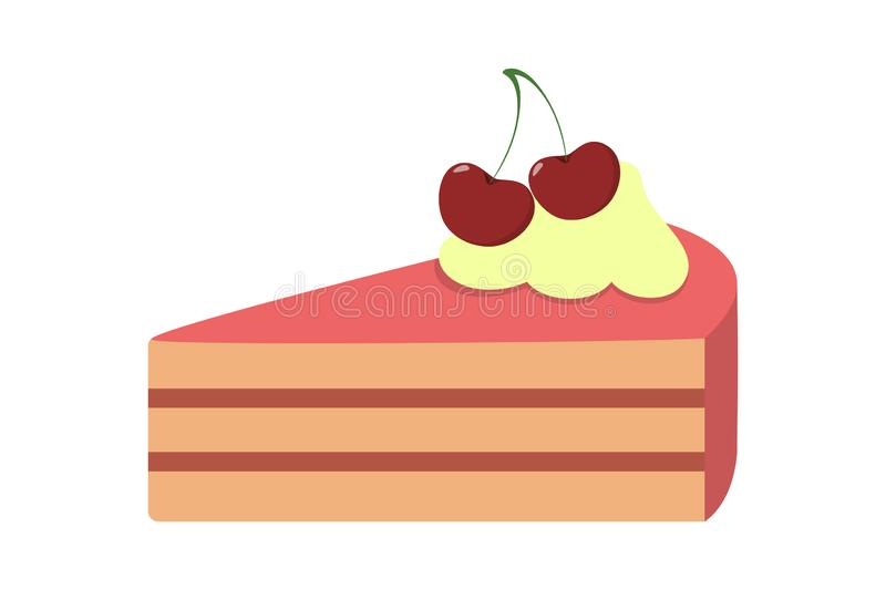 Tasty delicious peace of a bithday cake. Sweet bakery. And hot beverage. Yummy pie with cherry. Isolated vector illustration in cartoon style royalty free illustration