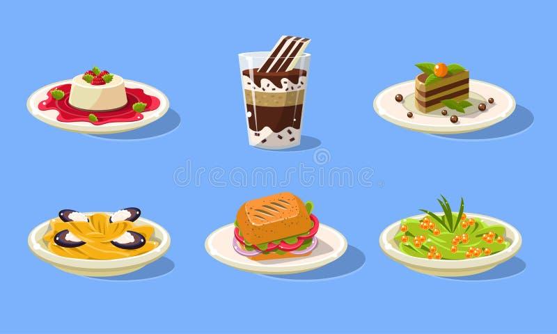 Tasty Dishes Set, Delicious Food, Spaghetti, Sandwich, Souffle, Cake, Milkshake Vector Illustration. In Flat Style vector illustration