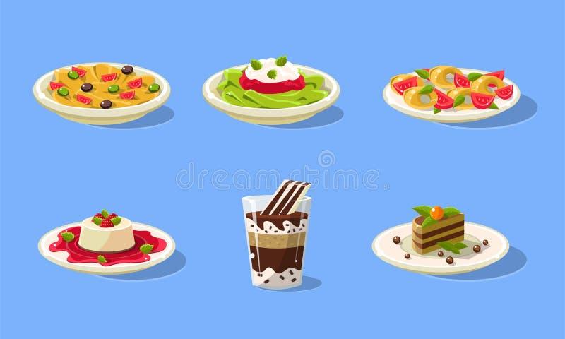 Tasty Dishes Set, Delicious Food, Spaghetti, Souffle, Cake, Milkshake Vector Illustration. In Flat Style stock illustration