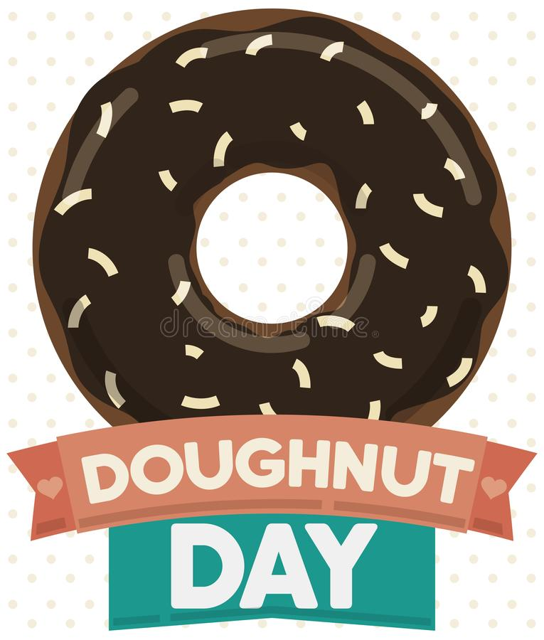 Tasty Doughnut with Chocolate and Coconut Glaze for Donut Day, Vector Illustration royalty free illustration