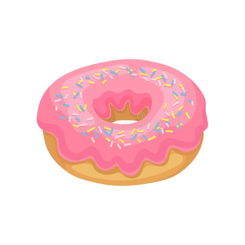 Tasty donut with pink glaze and colorful sprinkles. Delicious and sweet dessert. Flat vector design for promo poster or vector illustration