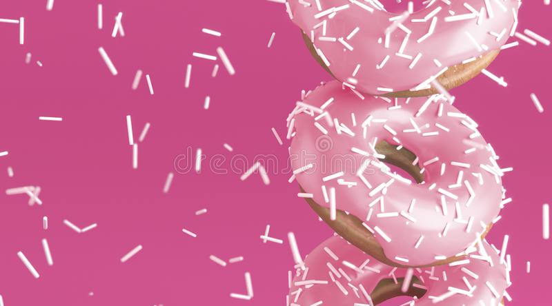 Tasty donuts with soft pink glaze, close up. Rain from white decor for baking on bright pink background. Concept for advertisement, menu, banner, card. 3d stock illustration