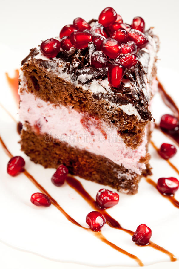 Tasty Fancy Cake With Pomegranate Stock Photos