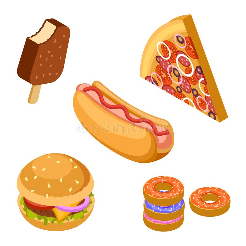 Tasty fast food isolated on white background. Isometric burger, ice cream, pizza, donuts and hot dog vector vector illustration