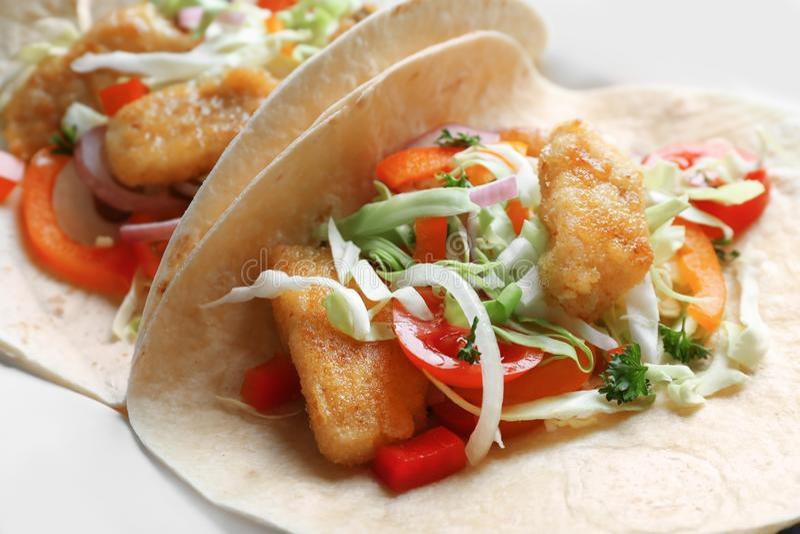 Tasty fish tacos, closeup stock images
