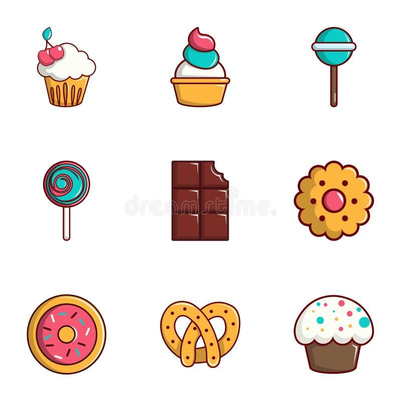 Tasty food icons set, flat style royalty free illustration