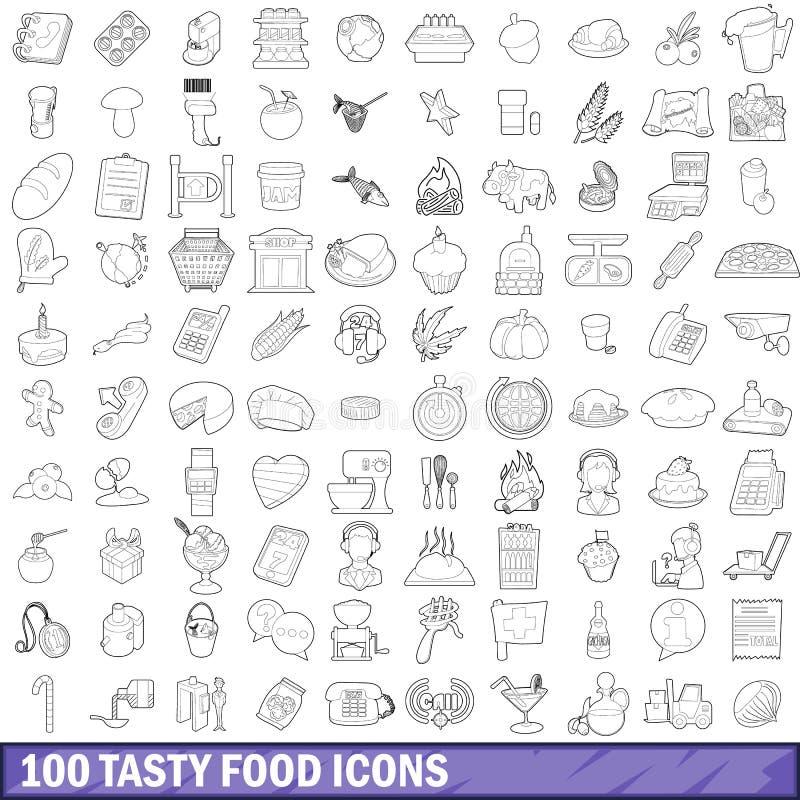 100 tasty food icons set, outline style stock illustration