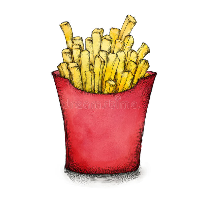 Tasty french fries in a red box stock illustration