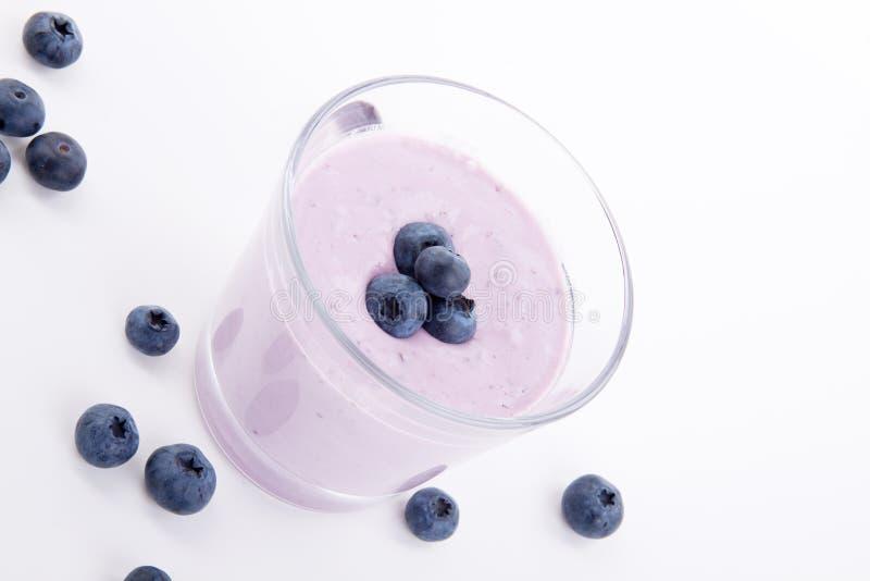 Tasty fresh blueberry yoghurt shake dessert isolated royalty free stock photo