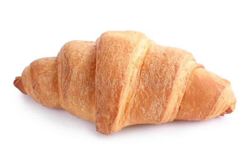 Tasty fresh crispy croissant. Isolated on white stock photo