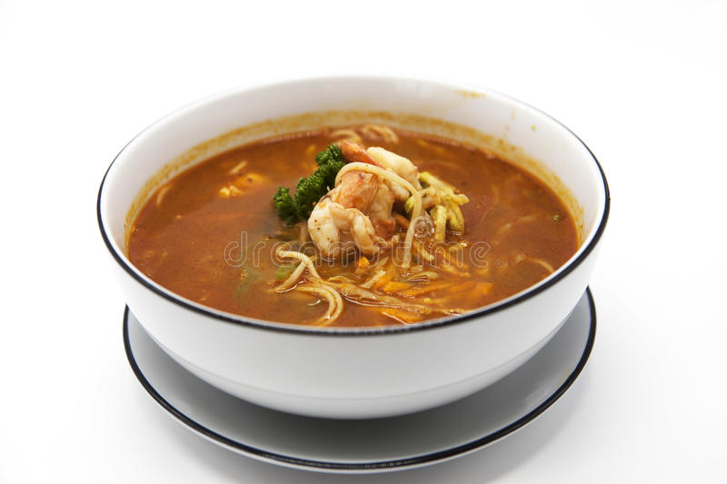 Tasty fresh spicy Thai soup Thai food Tom yam kung or Tom yum. royalty free stock photography