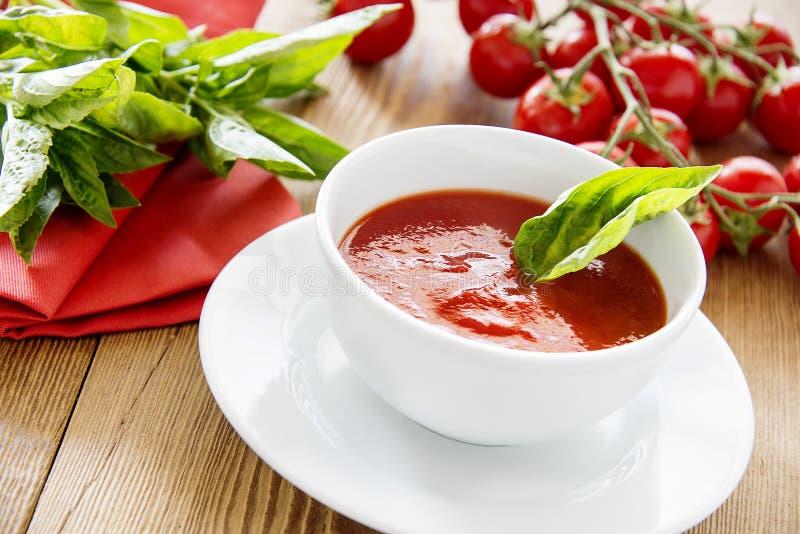 Tasty fresh tomato soup royalty free stock images