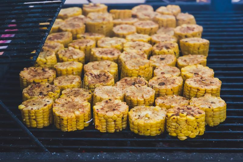 Tasty grilled corns stock images