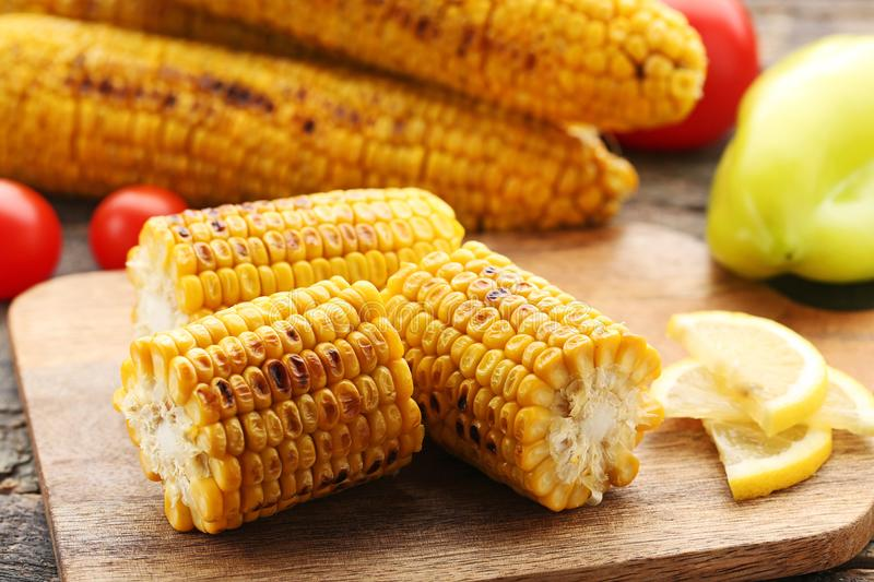 Tasty grilled corns stock image
