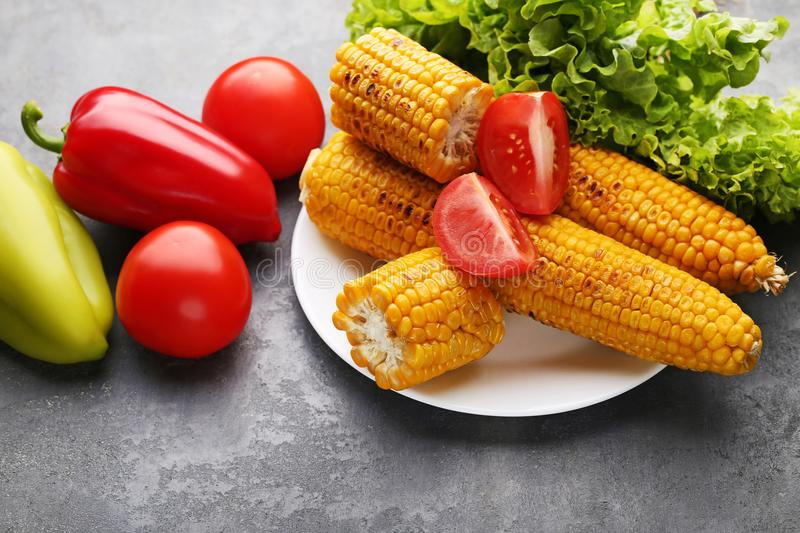 Tasty grilled corns royalty free stock image
