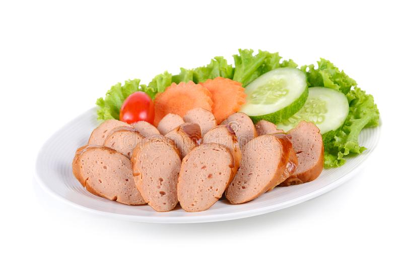Tasty grilled meat sausages isolated on white background.  royalty free stock image