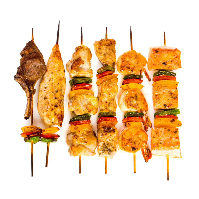 Tasty grilled meat, shish kebab stock image