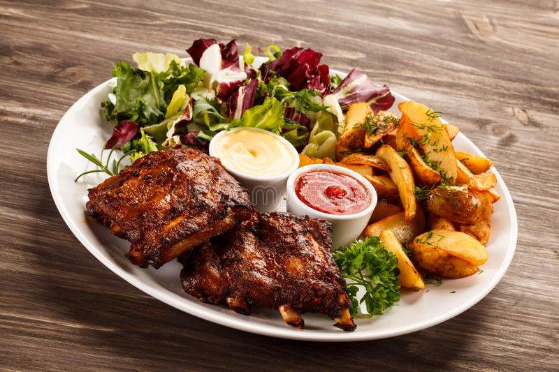 Tasty grilled ribs stock photography