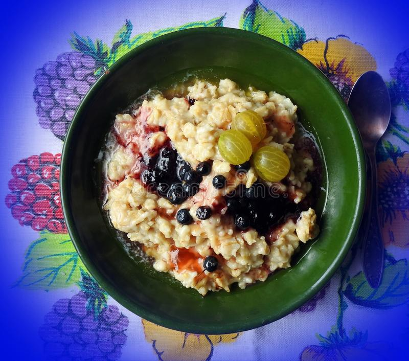 Grits gruel with fruits in morning, Lithuania royalty free stock photos