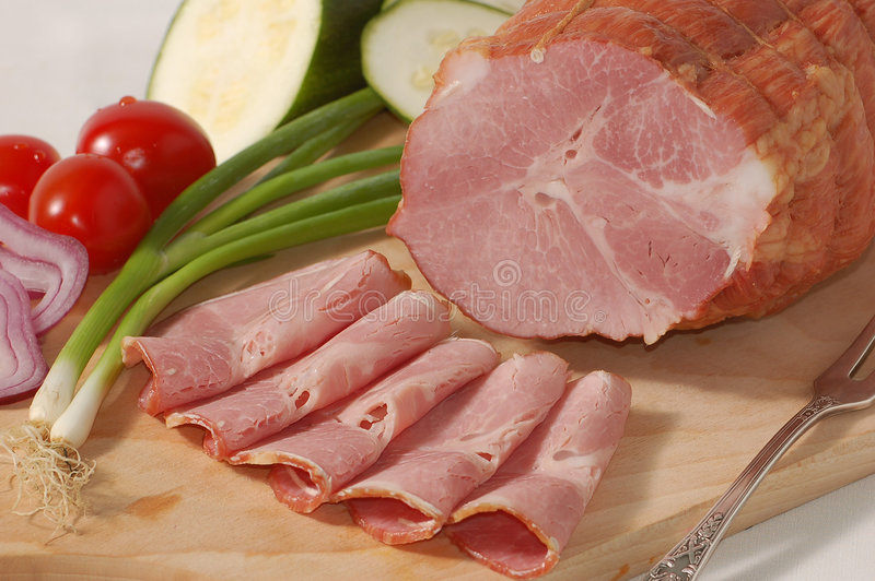 Tasty ham and vegetables stock photography