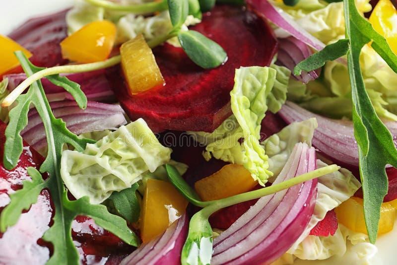 Tasty healthy beets salad, close up stock photos