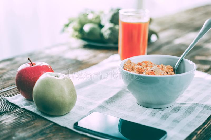 Tasty healthy breakfast being cooked by a hralthy food lover royalty free stock photography