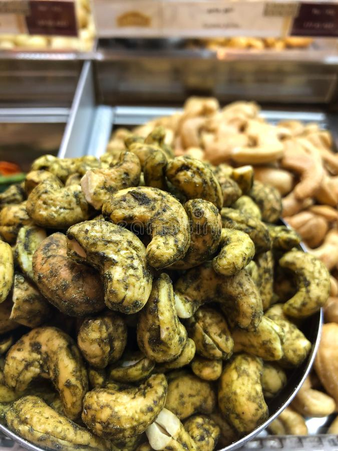 Tasty and healthy cashew nut mixed with spicy masala stock image