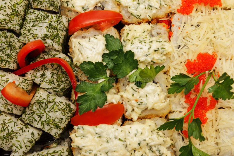 Tasty and healthy food from seafood stock photography