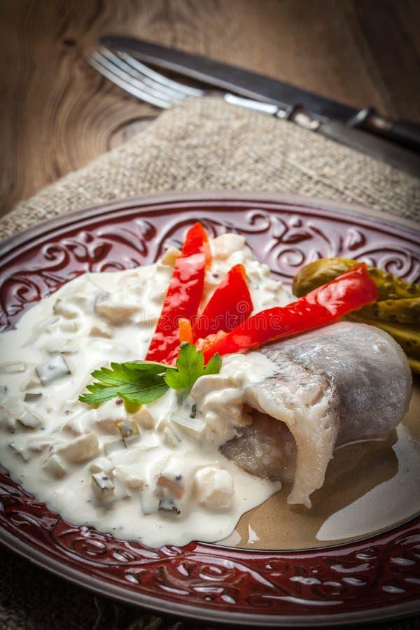 Tasty herring in cream sauce. royalty free stock image