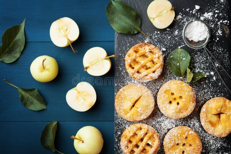 Tasty homemade apple pies on slate board. Pastry dessert top view. Tasty homemade apple pies on slate board. Pastry dessert from above stock photography