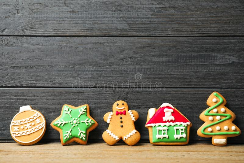 Tasty homemade Christmas cookies on table. Space for text stock photography