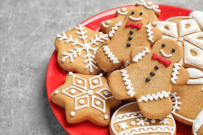 Tasty homemade Christmas cookies. On grey table royalty free stock image