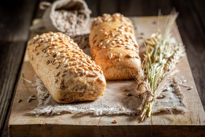 Tasty and homemade ciabattas with wheat and ears royalty free stock photo