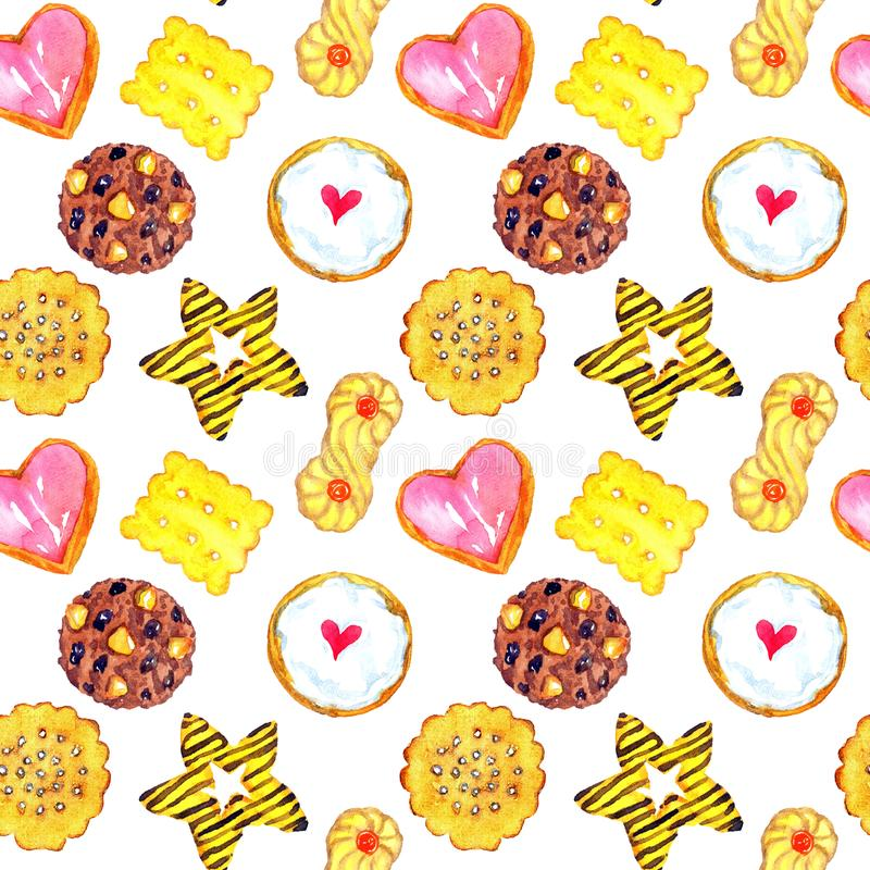 Tasty homemade cookies colorful variety. Homemade cookies variety, seamless pattern design on white background, hand painted watercolor illustration stock illustration