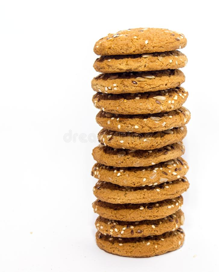 Tasty homemade fresh oats cookies isolated stock image