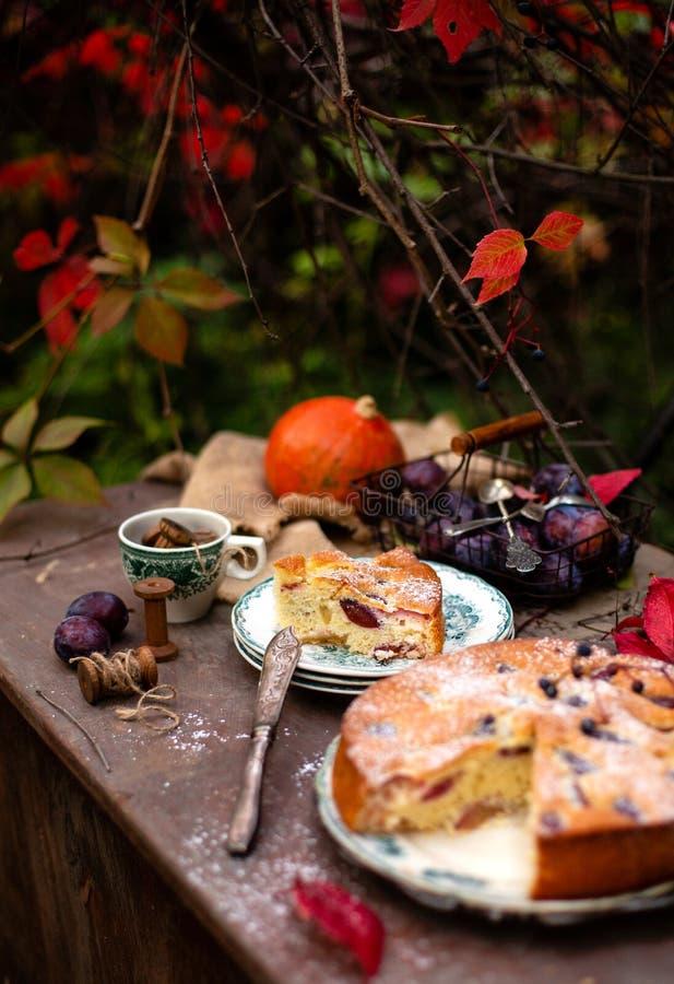 Tasty homemade plum cake slice on vintage plates on brown rustic table stock photo