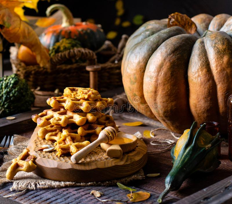 Tasty homemade pumpkin orange waffles on wooden board on brown rustic table with pumpkins royalty free stock images