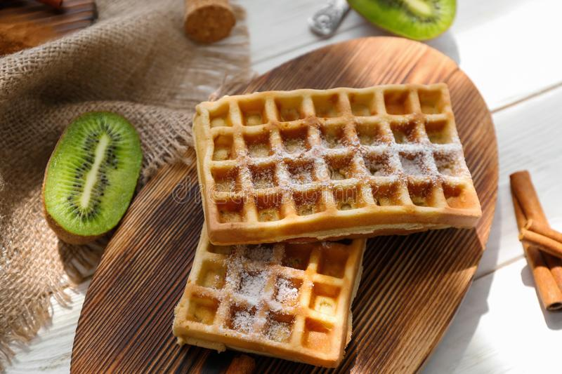 Download Tasty Homemade Waffles With Sugar Powder Stock Image - Image of pastry, delicious: 110670123