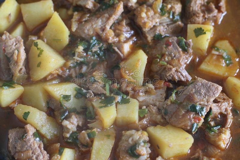 Tasty dish with meat and potatoes royalty free stock images