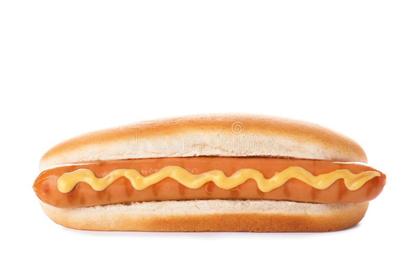 Tasty hot dog with mustard. On white background royalty free stock photo