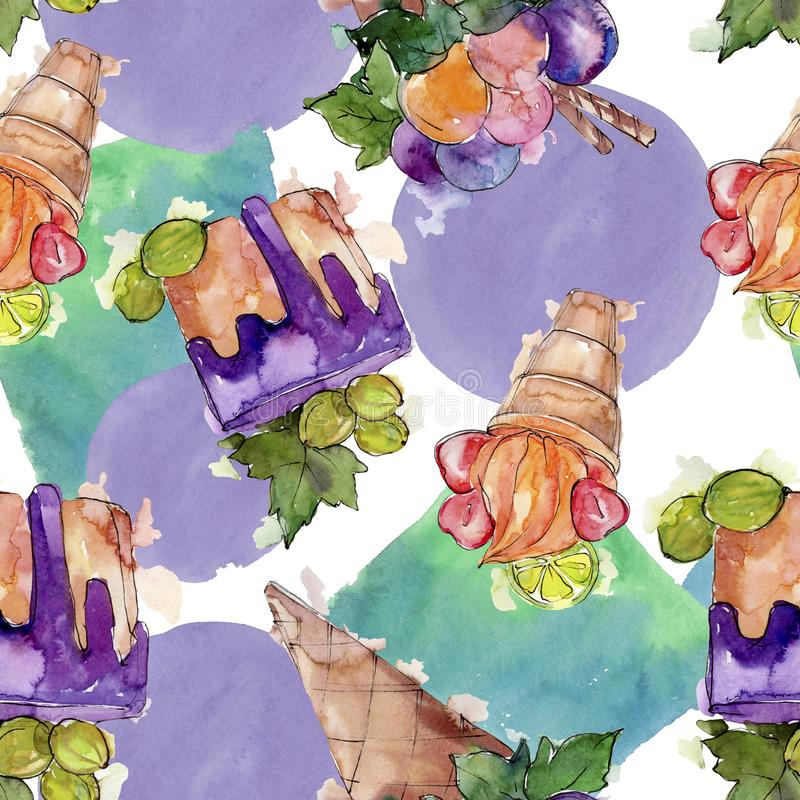 Tasty ice cream cone sweet dessert. Watercolor background illustration set. Seamless background pattern. royalty free illustration