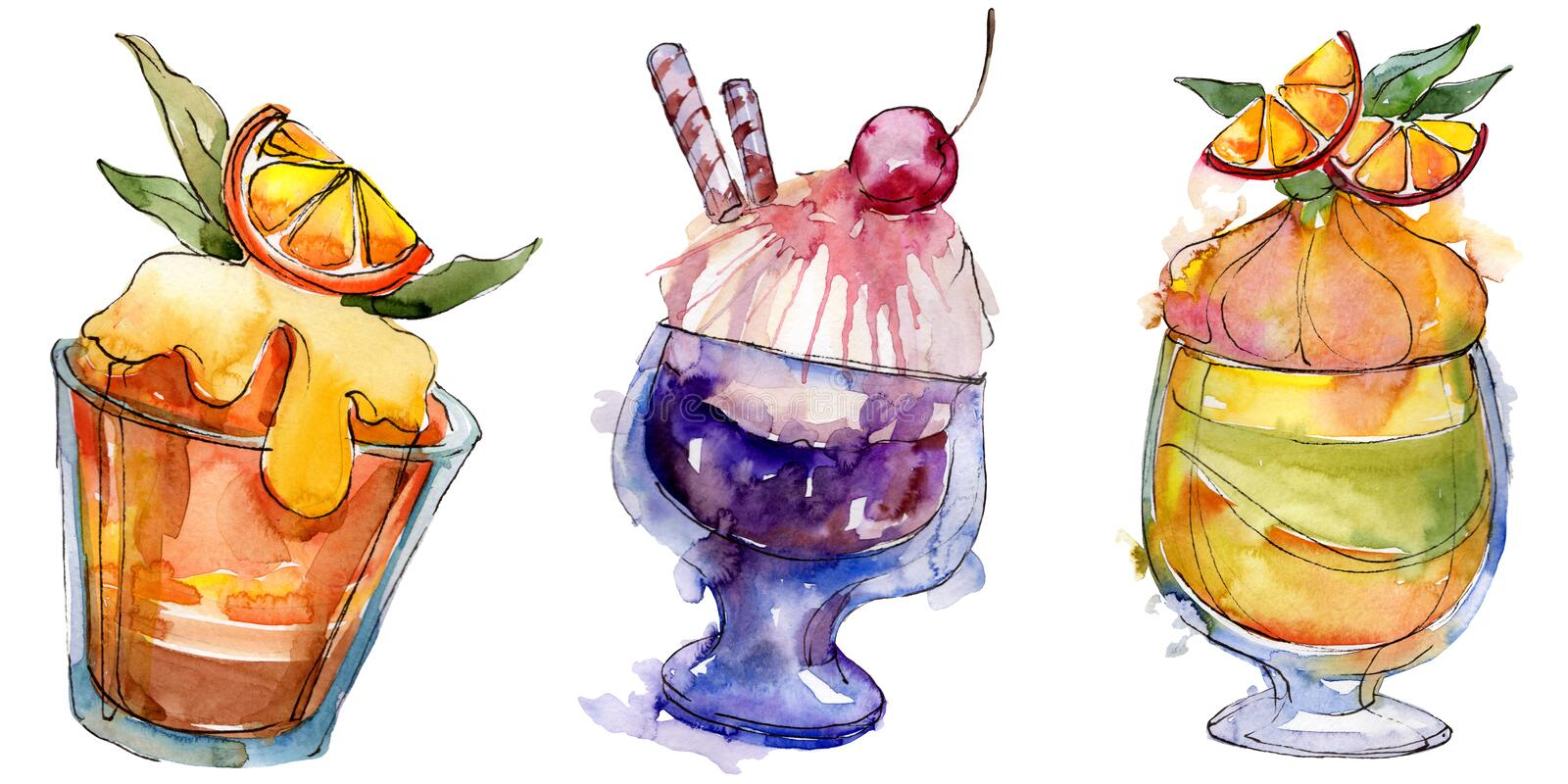 Tasty ice cream in a watercolor style. Aquarelle sweet dessert illustration set. Isolated desserts background element. Tasty ice cream in a watercolor style vector illustration
